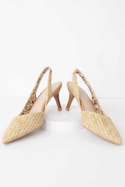 Ornament Natural Raffia Pointed-Toe Slingback Pumps - Lulus