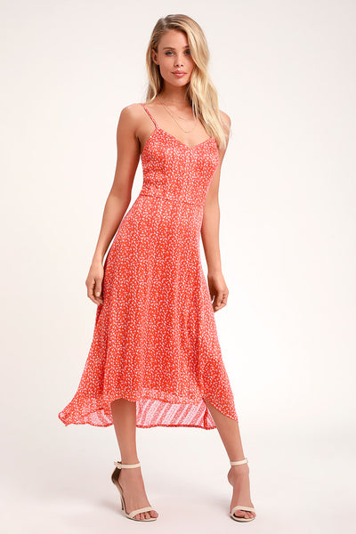Dreams of Love Orange Floral Print High-Low Midi Dress - Lulus