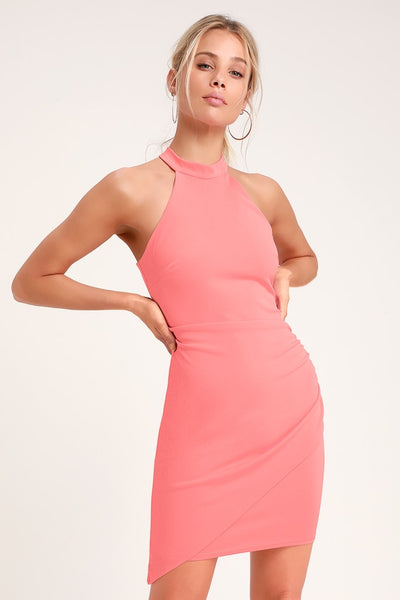 You Can't Ruche Love Pink Ruched Bodycon Halter Dress - Lulus