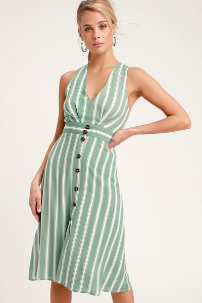 Jacqui Sage Green and White Striped Button Front Midi Dress - Lulus