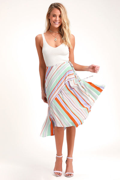 Palette Orange Multi Striped Midi Skirt - Lulus