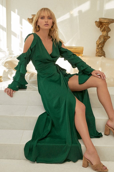 Lovely As Always Dark Green Satin Wrap Maxi Dress - Lulus
