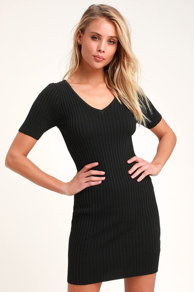 Janese Black Ribbed Knit Bodycon Dress - Lulus