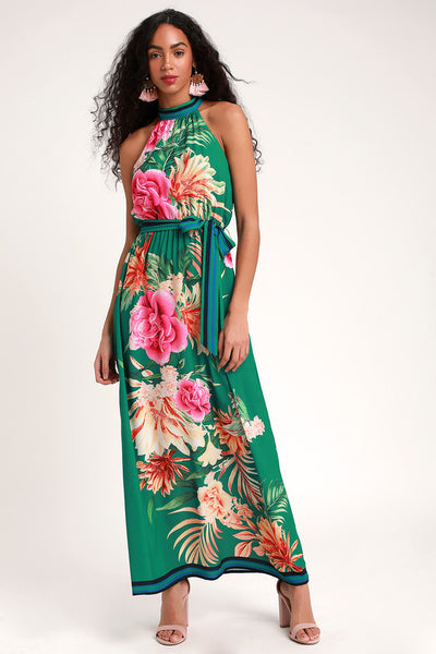 Tropic of Conversation Green Tropical Print Halter Maxi Dress - Lulus