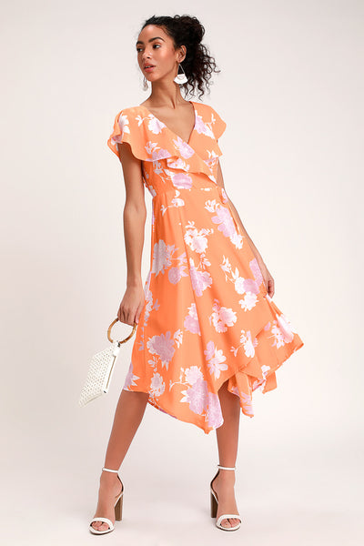 Garden of Joy Light Orange Floral Print Ruffled Wrap Dress - Lulus