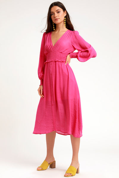 Go For It Bright Pink Long Sleeve Midi Dress - Lulus