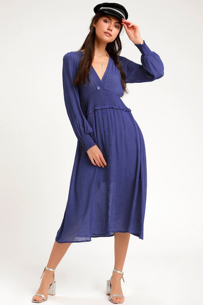 Go For It Royal Blue Long Sleeve Midi Dress - Lulus