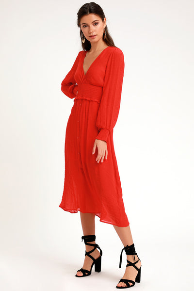 Go For It Red Long Sleeve Midi Dress - Lulus