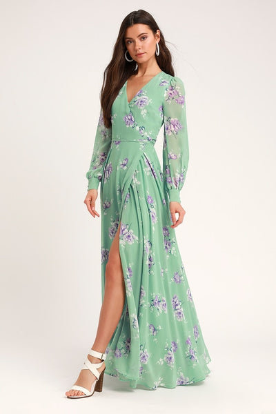 My Whole Heart Sage Green Floral Print Long Sleeve Wrap Dress - Lulus