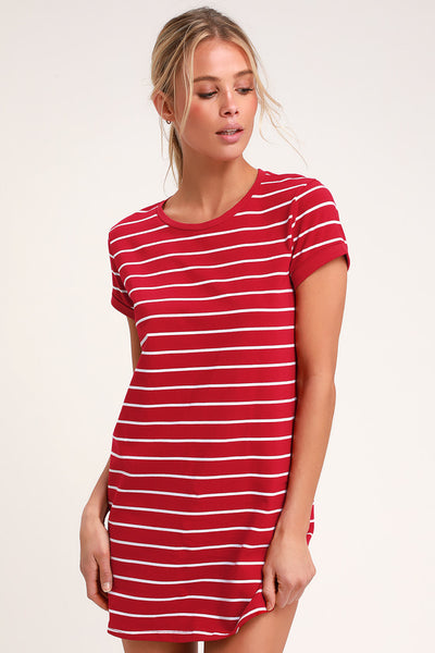 Cafe Society Red and White Striped Shirt Dress - Lulus