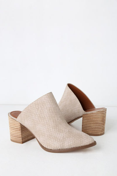 Tosh Stone Snake Embossed Pointed Toe Mules - Lulus
