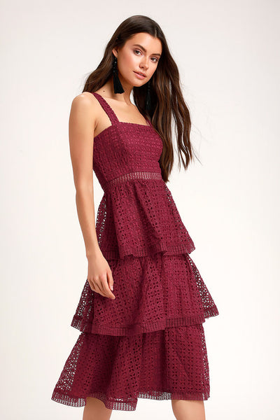 Outstanding Burgundy Crochet Lace Ruffled Midi Dress - Lulus