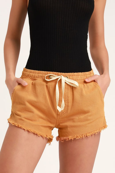 Coast Line Camel Denim Pull-On Shorts - Lulus