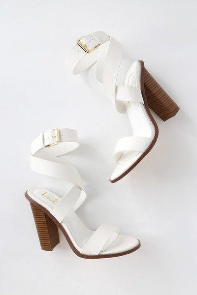 Shelbie White Ankle Strap Heels - Lulus