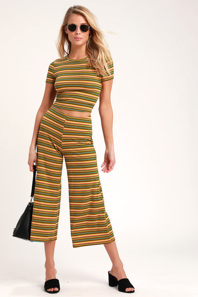 Clementine Mustard Yellow Striped Culottes - Lulus
