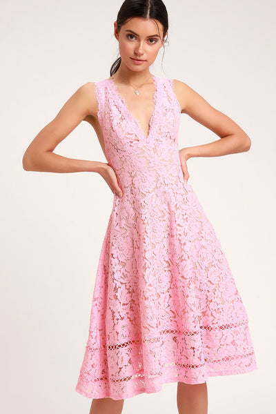 Kiss Kiss Pink Lace Sleeveless Midi Dress - Lulus