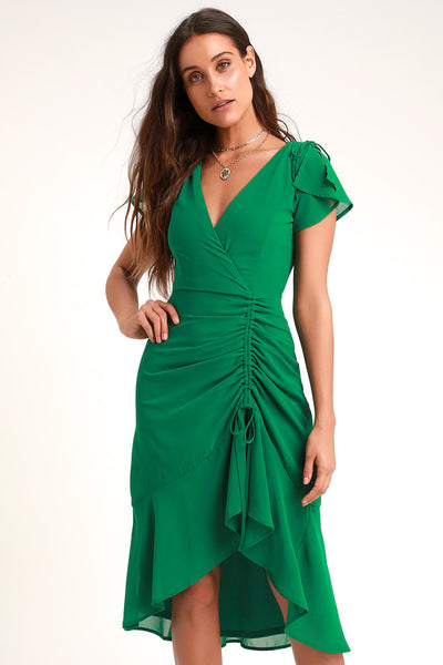 Outstanding Green Ruched High-Low Midi Dress - Lulus