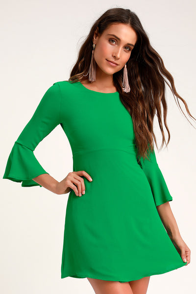 Center of Attention Green Flounce Sleeve Dress - Lulus