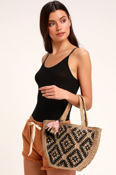 Lakeside Beige and Black Woven Crossbody Bag - Lulus