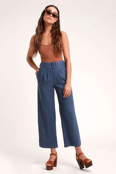 Amni Navy Blue Belted Wide-Leg Pants - Lulus
