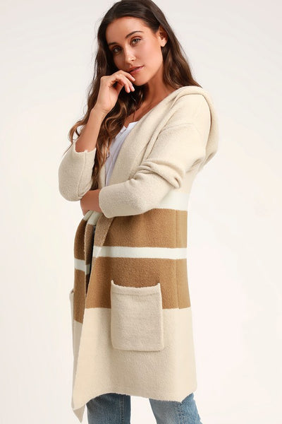 Carlsbad Tan and Beige Hooded Cardigan Sweater - Lulus
