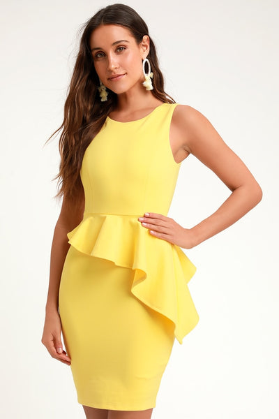 Here and Vow Yellow Sleeveless Ruffled Bodycon Dress - Lulus