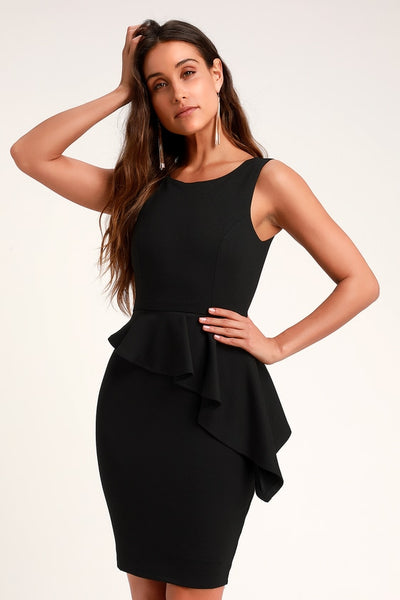 Here and Vow Black Sleeveless Ruffled Bodycon Dress - Lulus
