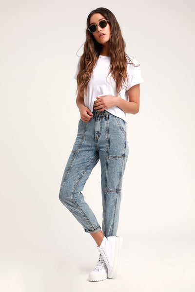 Mom Jeans Acid Wash High-Waisted Cropped Jeans - Lulus