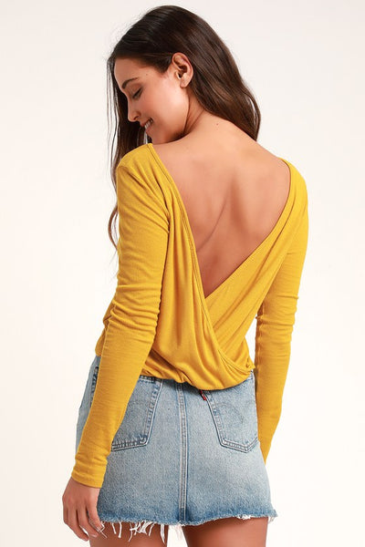 Idolize Mustard Yellow Ribbed Long Sleeve Backless Top - Lulus