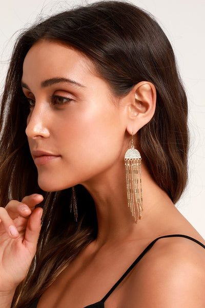 Lucas Gold Fringe Earrings - Lulus