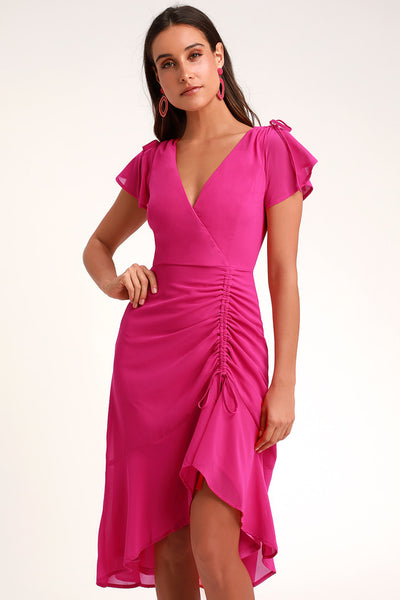 Outstanding Magenta Ruched High-Low Midi Dress - Lulus