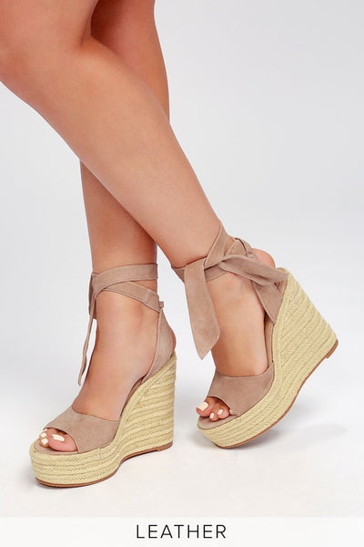Barca Blush Kid Suede Leather Lace-Up Espadrille Wedges - Lulus