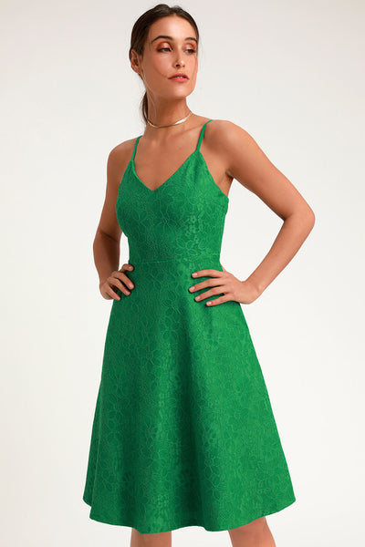 Delightful Day Green Lace Midi Skater Dress - Lulus