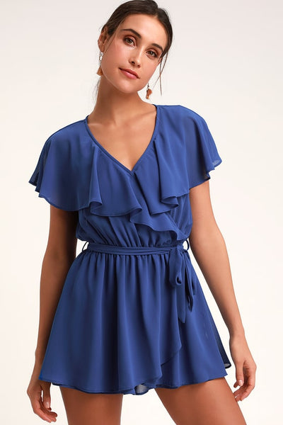 Lori Royal Blue Surplice Romper - Lulus