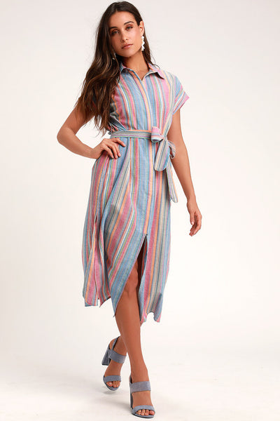 Sun-Shiny Red Rainbow Striped Midi Dress - Lulus