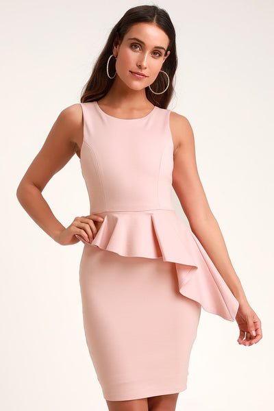 Here and Vow Light Pink Sleeveless Ruffled Bodycon Dress - Lulus