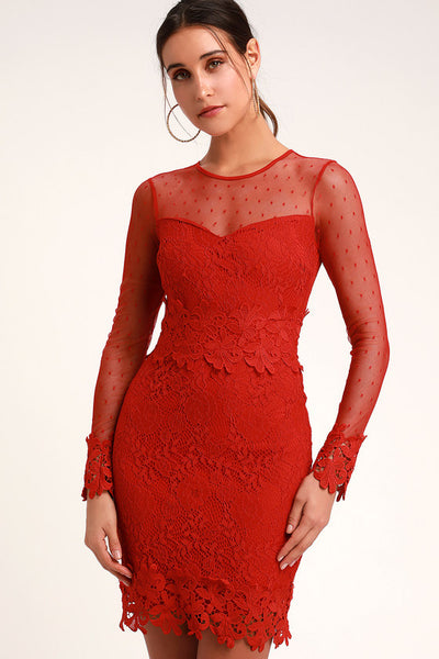 Lacey Lane Red Lace Long Sleeve Dress - Lulus