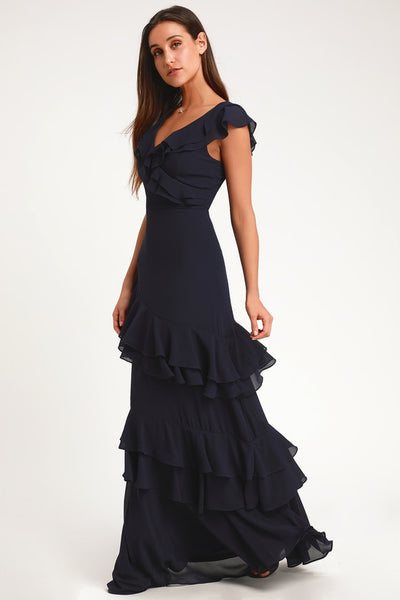 Majesty Navy Blue Ruffled Maxi Dress - Lulus