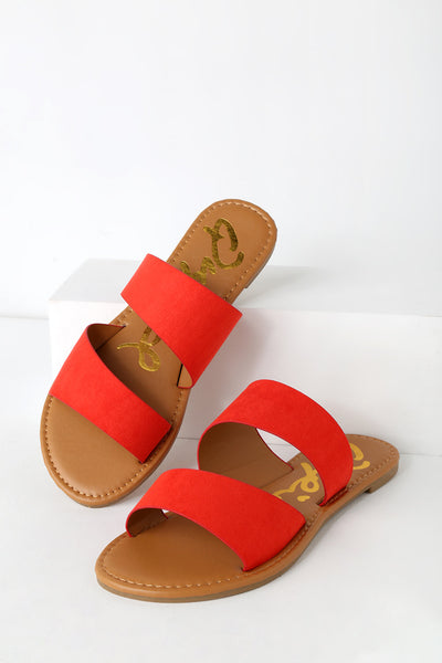 Jimena Blood Orange Suede Slide Sandal Heels - Lulus