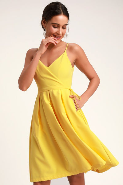 Thinking About You Yellow Pleated Faux Wrap Midi Skater Dress - Lulus