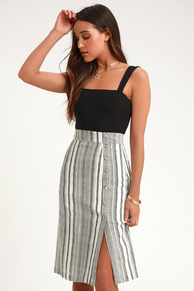 Sabine Grey Striped Button Down Midi Skirt - Lulus