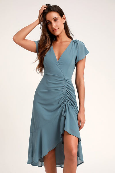 Outstanding Denim Blue Ruched High-Low Midi Dress - Lulus