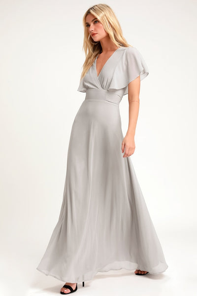 Dearly Loved Light Grey Flutter Sleeve Maxi Dress - Lulus