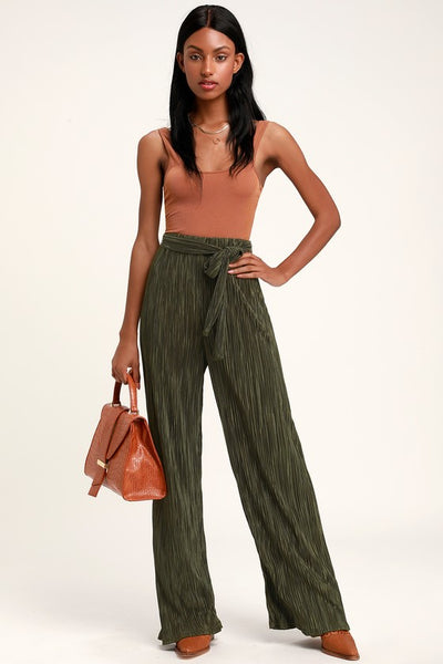 Grandeur Olive Green Satin Pleated Pants - Lulus