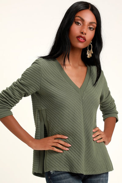 Easy Being Green Ribbed V-Neck Long Sleeve Top - Lulus