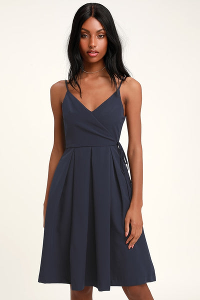 Thinking About You Navy Blue Pleated Faux Wrap Midi Skater Dress - Lulus