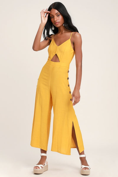 Imagine That Mustard Yellow Tie-Back Cutout Culotte Jumpsuit - Lulus