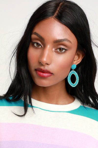 Calliandra Turquoise Beaded Statement Earrings - Lulus