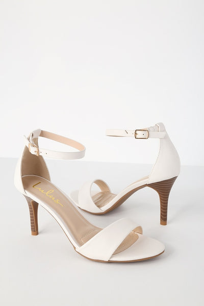 Lover White Stacked Ankle Strap Heels - Lulus