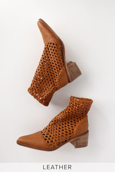 In The Loop Tan Leather Woven Boot - Lulus